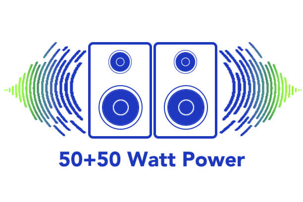 50+50watt power